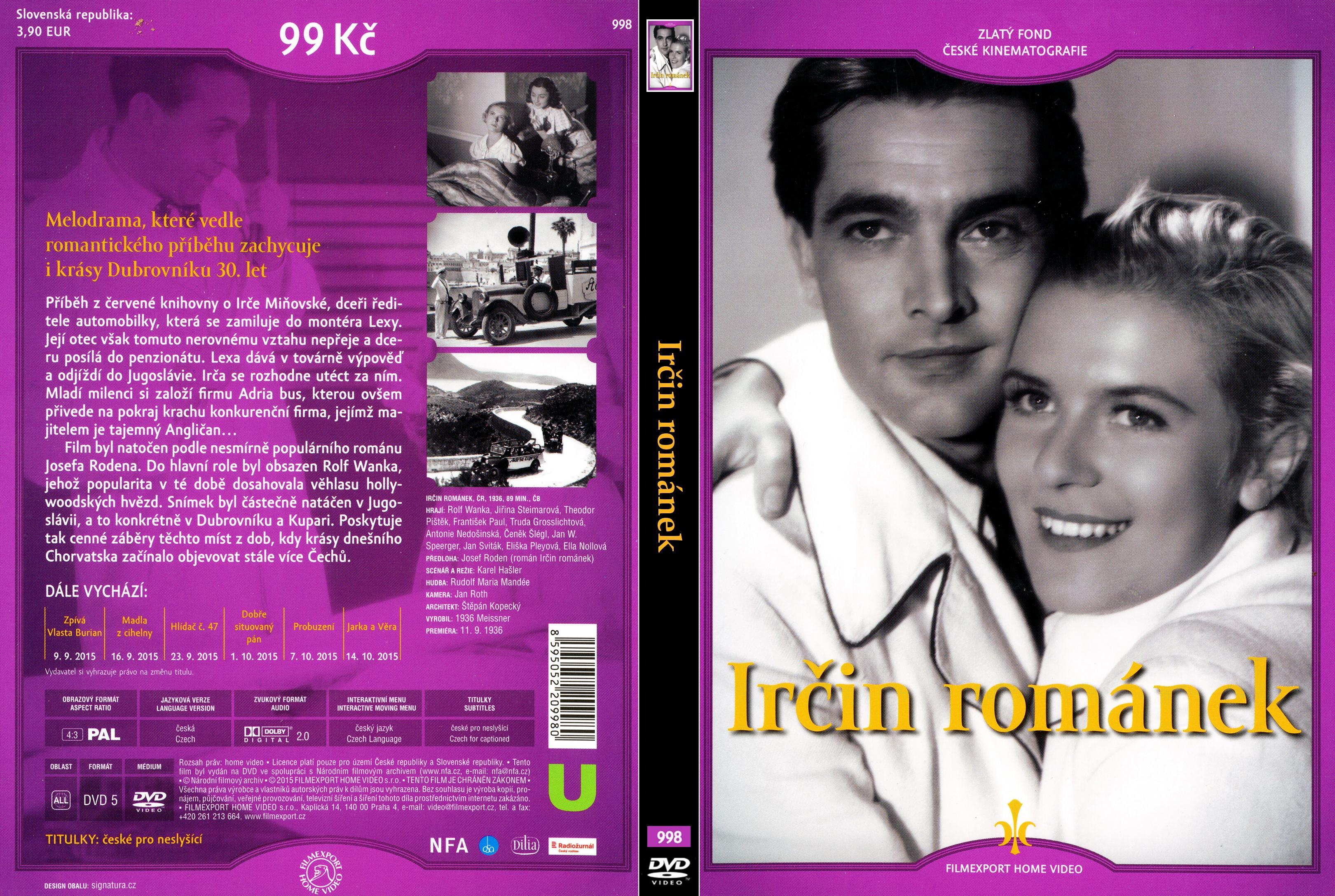 DVD obal Irčin románek